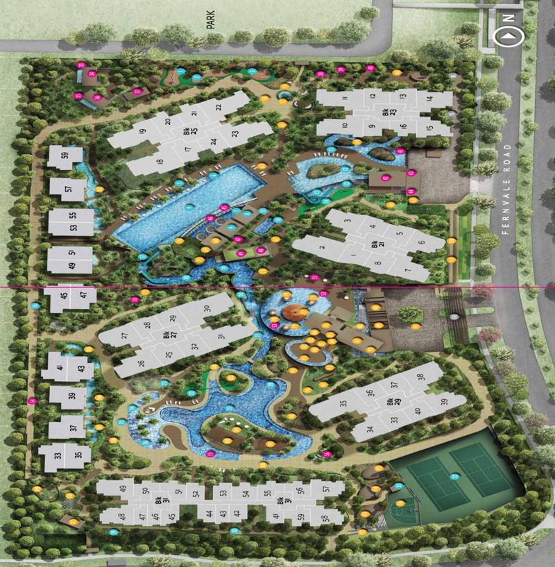 Site Plan indication of Full Condo Facilities Sengkang New Launch Balance Units