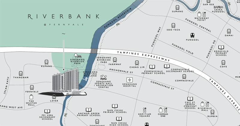 Sengkang Riverbank Location Map. Sengkang New Launch Balance Units