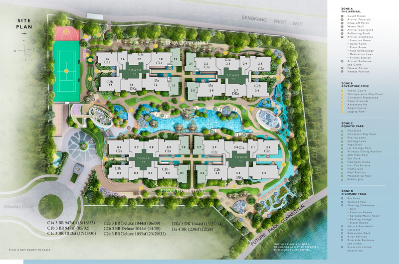 Sengkang Riverbank Site Plan With Indication of Full Condo Facilities. Sengkang New Launch Balance Units