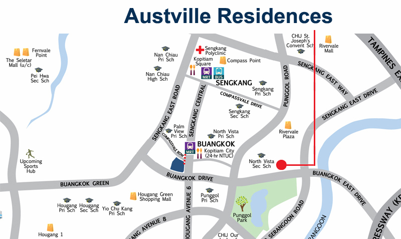 Austville Residences Location Map Sengkang New Launch Balance Units