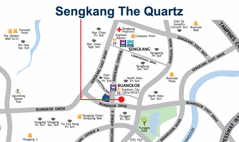 Sengkang The Quartz Location Map Sengkang New Launch Balance Units